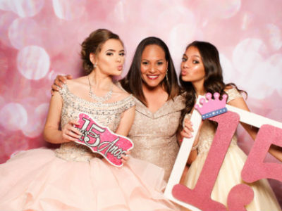 San Antonio photo booth backdrop Pink Sparkle